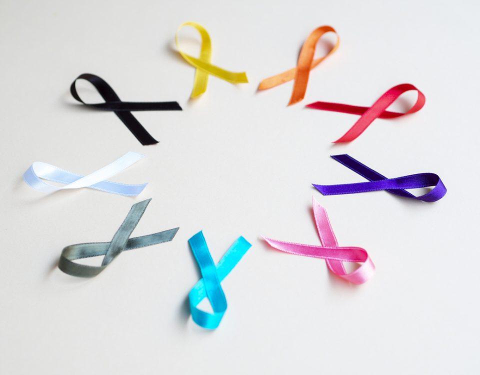 Tumor maligno ou benigno: laços de várias cores representando a prevenção contra tipos de câncer.